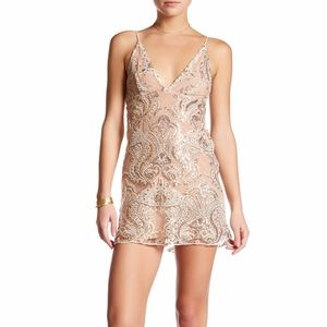 Free People White & Gold Night Shimmers Mini Dress